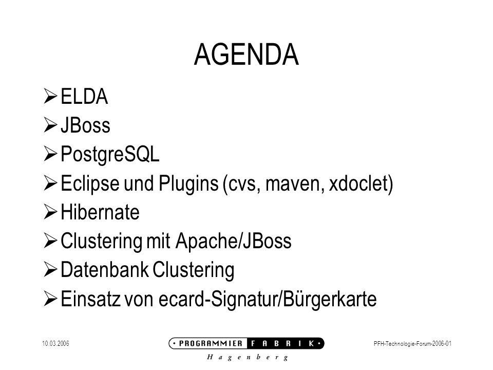 AGENDA ELDA JBoss PostgreSQL Eclipse und Plugins (cvs, maven, xdoclet)