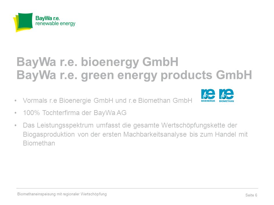 BayWa r.e. bioenergy GmbH BayWa r.e. green energy products GmbH