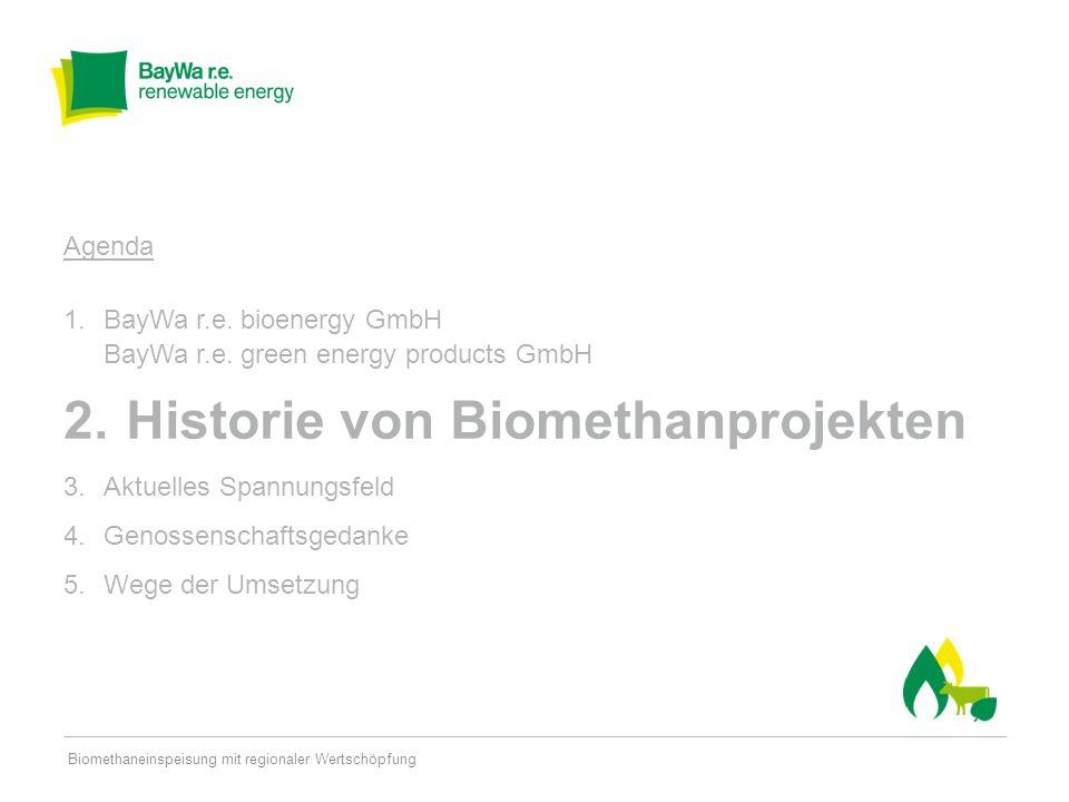 Historie von Biomethanprojekten