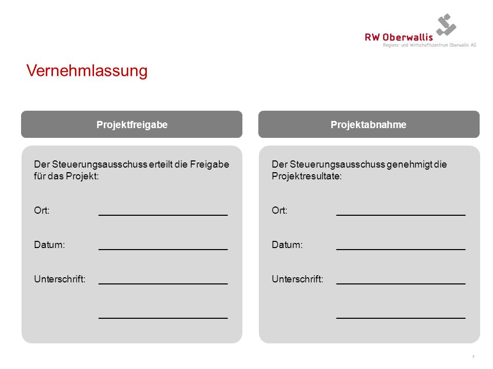 Vernehmlassung Projektfreigabe Projektabnahme