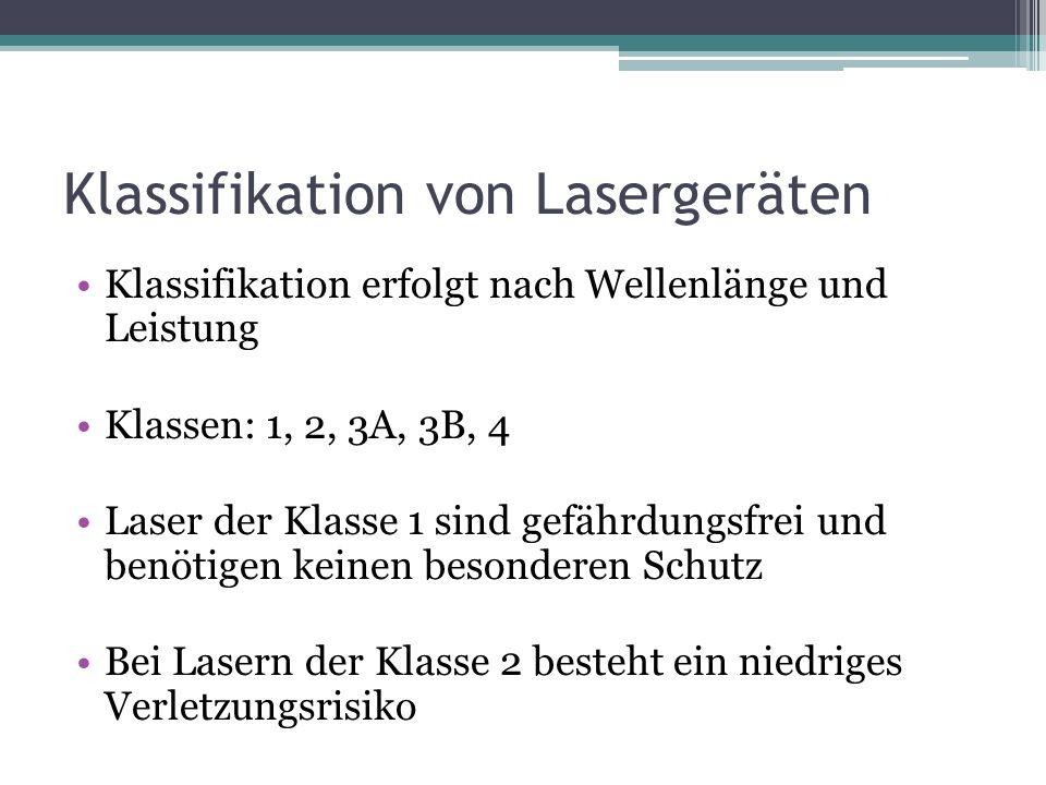 Klassifikation von Lasergeräten