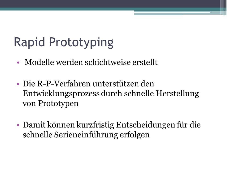 Rapid Prototyping Modelle werden schichtweise erstellt