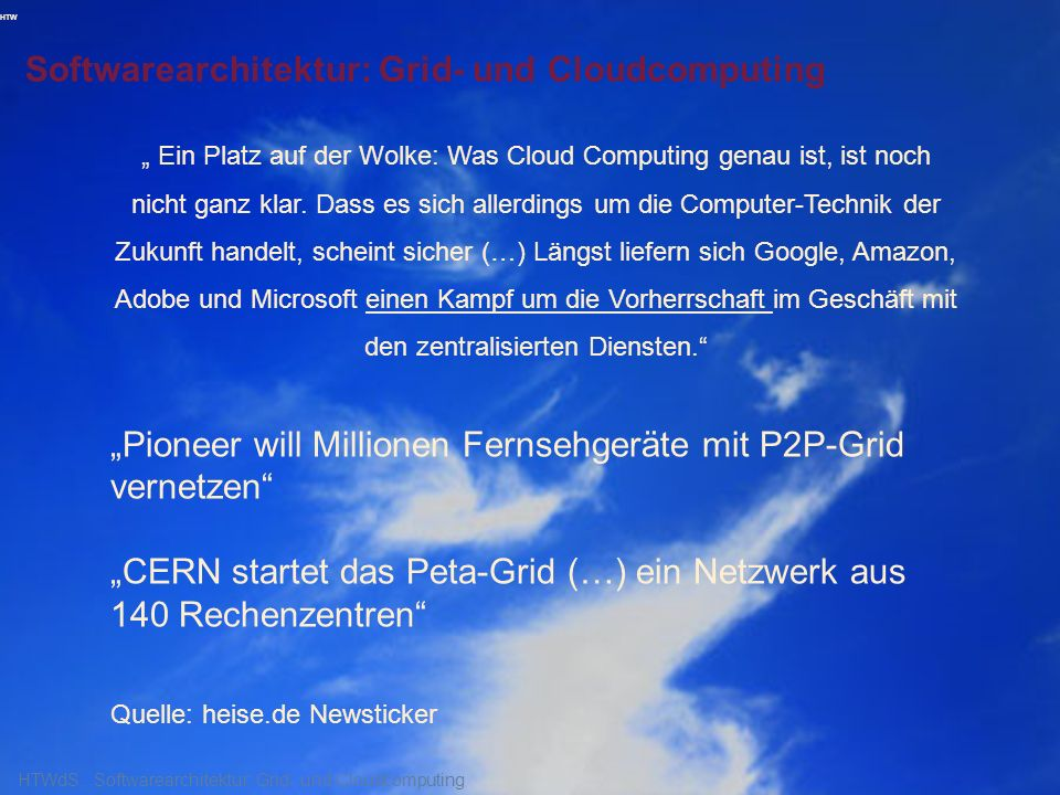 HTW Softwarearchitektur: Grid- und Cloudcomputing