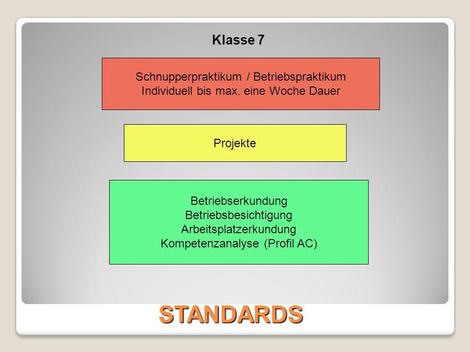 STANDARDS Klasse 7 Schnupperpraktikum / Betriebspraktikum