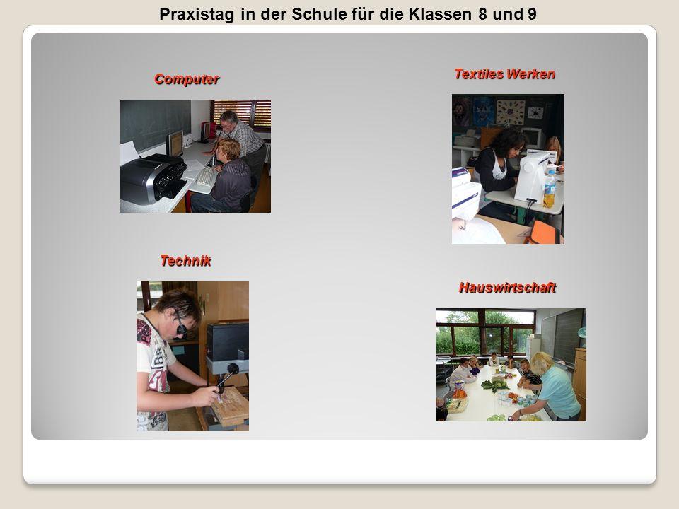 Praxistag in der Schule für die Klassen 8 und 9