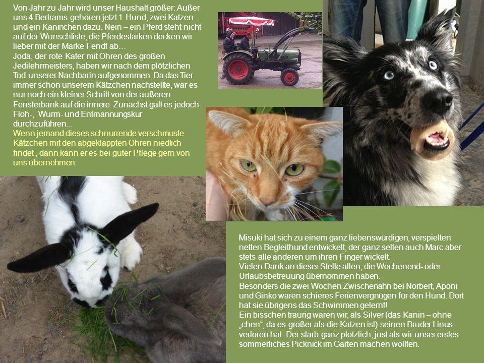 Von Jahr zu Jahr wird unser Haushalt größer: Außer uns 4 Bertrams gehören jetzt 1 Hund, zwei Katzen und ein Kaninchen dazu. Nein – ein Pferd steht nicht auf der Wunschliste, die Pferdestärken decken wir lieber mit der Marke Fendt ab…