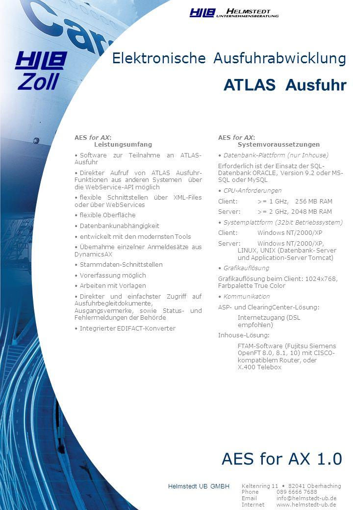 ATLAS Ausfuhr AES for AX 1.0 Elektronische Ausfuhrabwicklung