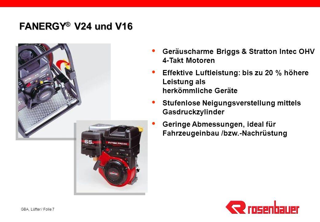 FANERGY® V24 und V16 Geräuscharme Briggs & Stratton Intec OHV 4-Takt Motoren.