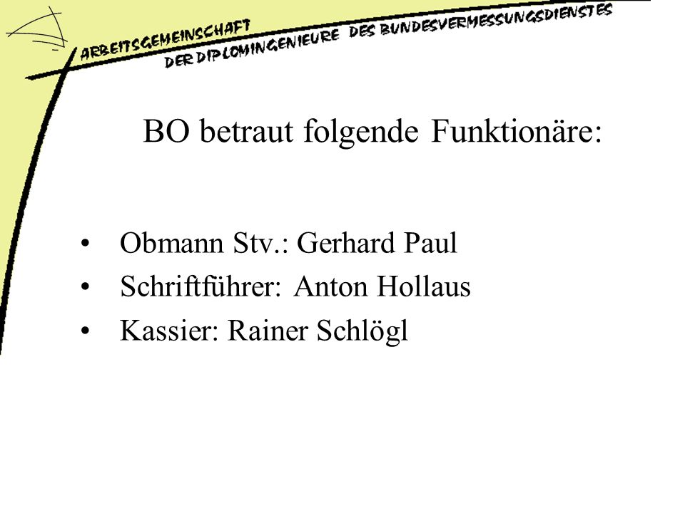 BO betraut folgende Funktionäre: