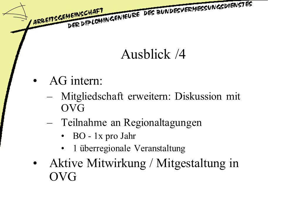 Ausblick /4 AG intern: Aktive Mitwirkung / Mitgestaltung in OVG