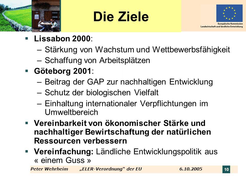 Die Ziele Lissabon 2000: Stärkung von Wachstum und Wettbewerbsfähigkeit. Schaffung von Arbeitsplätzen.