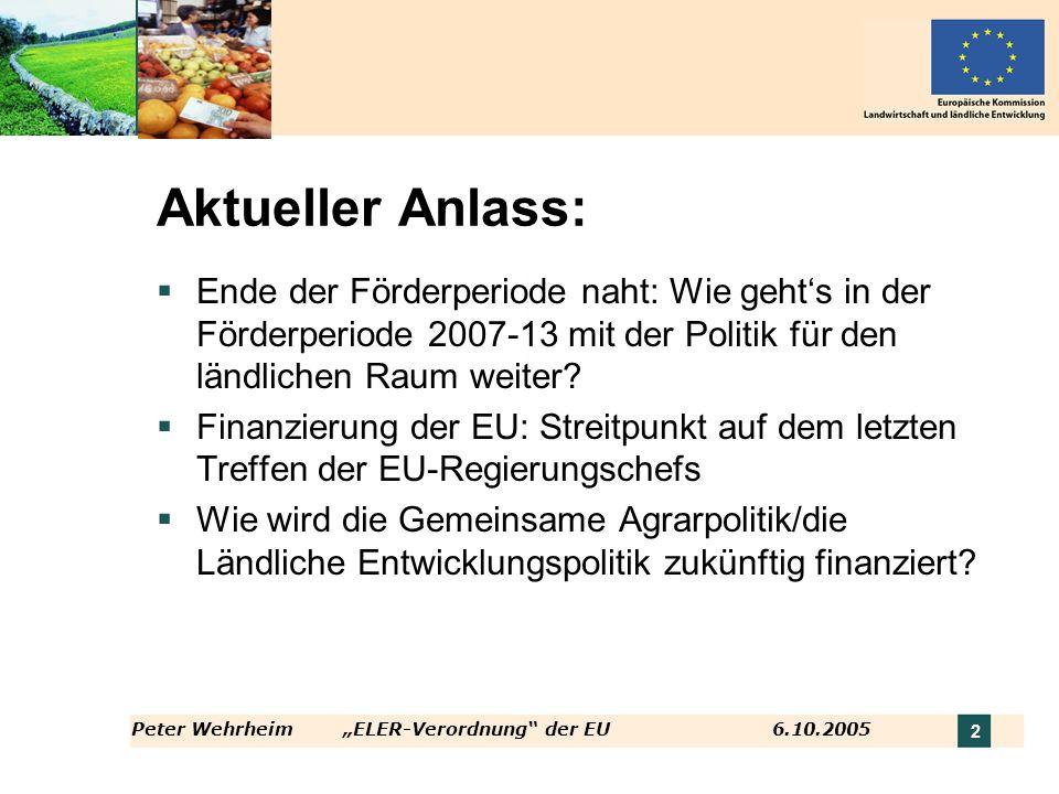 Aktueller Anlass: Ende der Förderperiode naht: Wie geht's in der Förderperiode 2007-13 mit der Politik für den ländlichen Raum weiter
