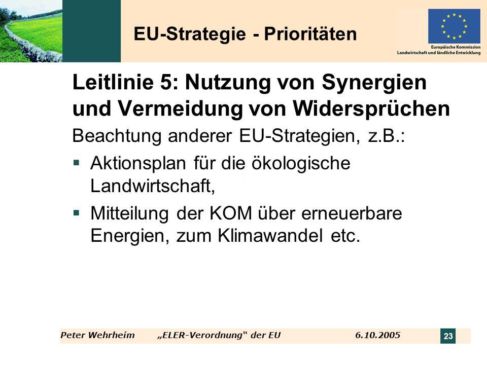 Leitlinie 5: Nutzung von Synergien und Vermeidung von Widersprüchen