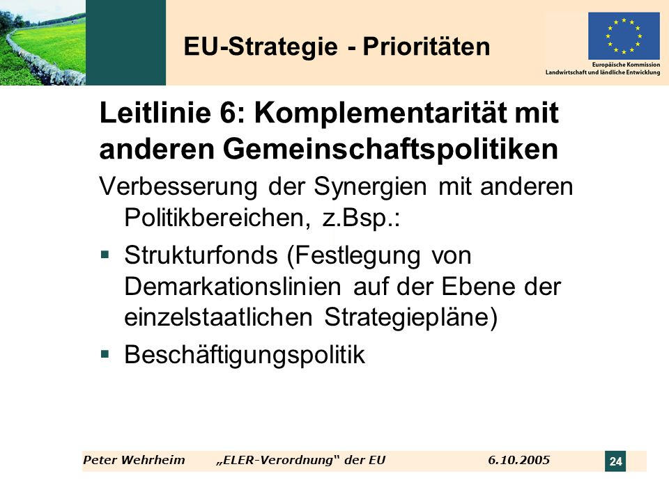 Leitlinie 6: Komplementarität mit anderen Gemeinschaftspolitiken