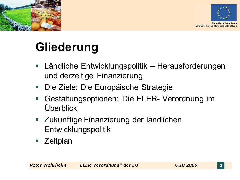 Gliederung Ländliche Entwicklungspolitik – Herausforderungen und derzeitige Finanzierung. Die Ziele: Die Europäische Strategie.