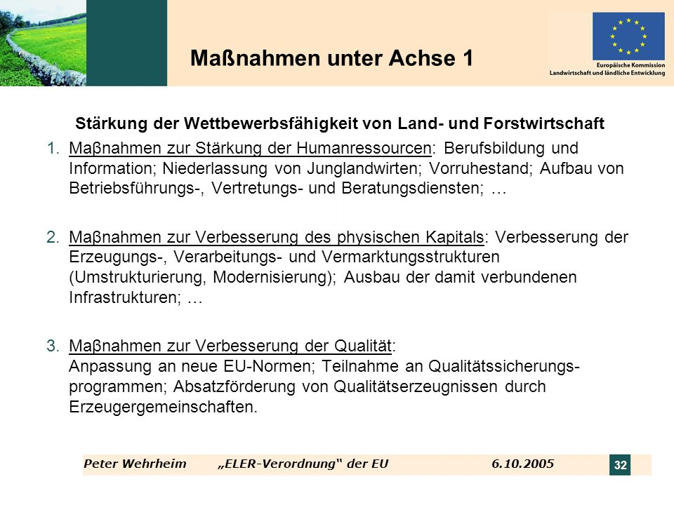 Stärkung der Wettbewerbsfähigkeit von Land- und Forstwirtschaft