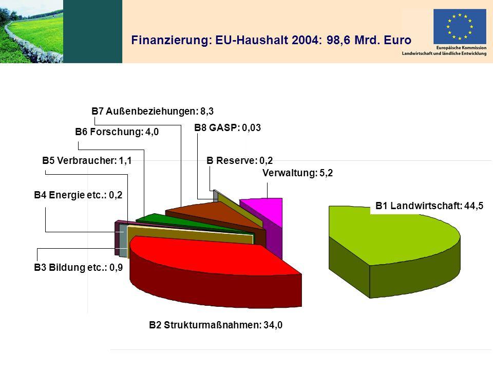 Finanzierung: EU-Haushalt 2004: 98,6 Mrd. Euro