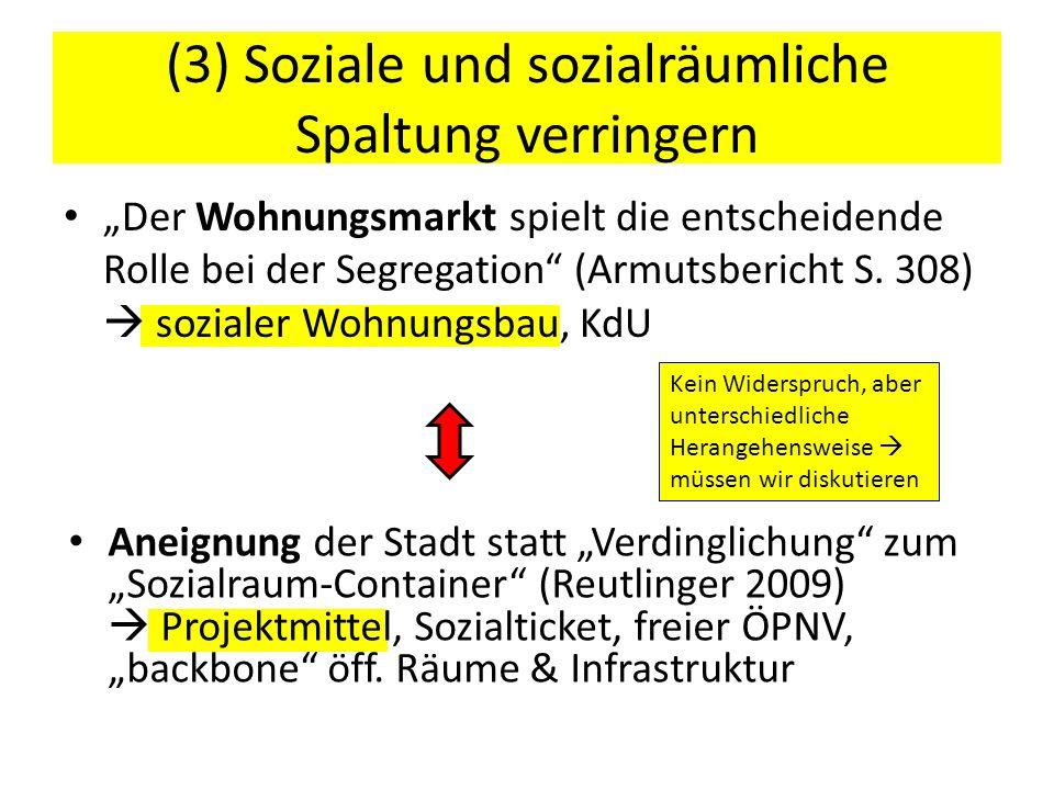 (3) Soziale und sozialräumliche Spaltung verringern