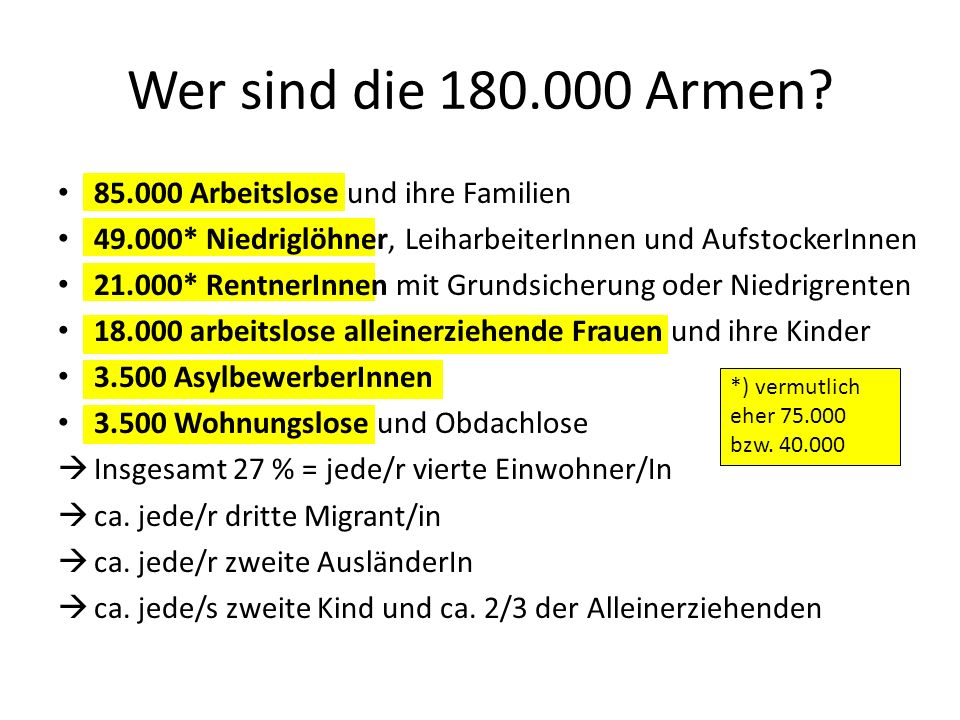 Wer sind die 180.000 Armen 85.000 Arbeitslose und ihre Familien