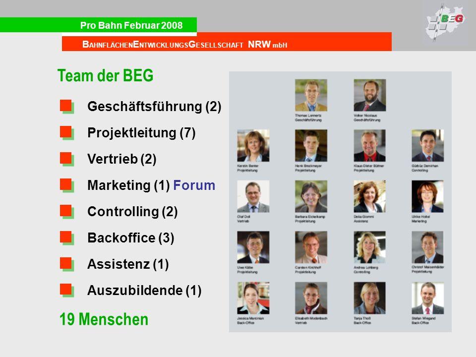 Team der BEG 19 Menschen Geschäftsführung (2) Projektleitung (7)