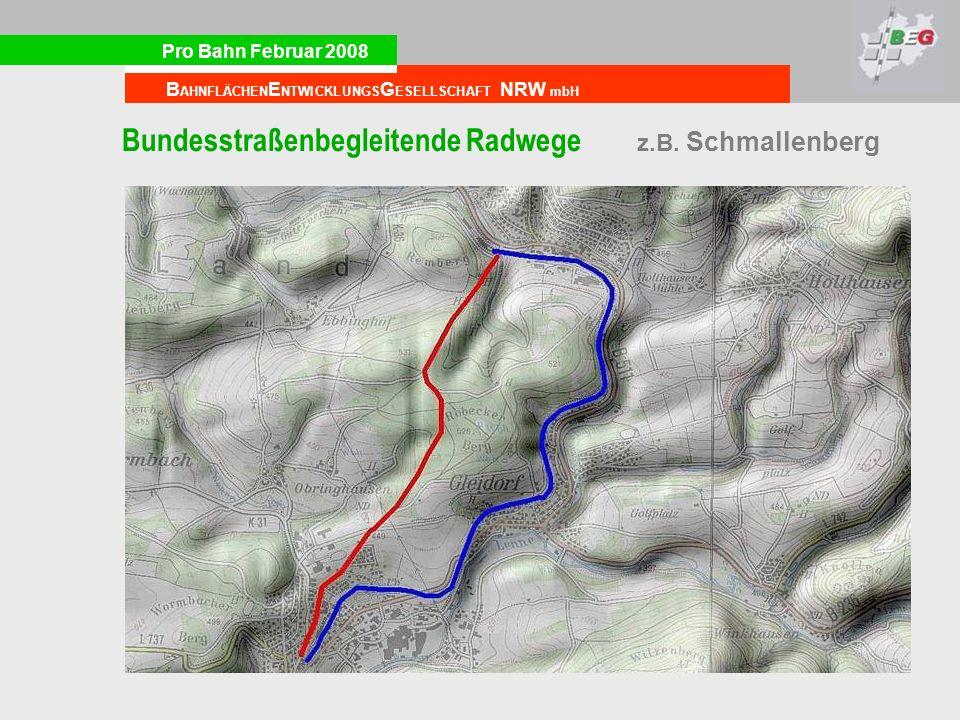 Bundesstraßenbegleitende Radwege z.B. Schmallenberg