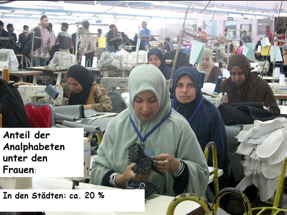 Anteil der Analphabeten unter den Frauen: In den Städten: ca. 20 %