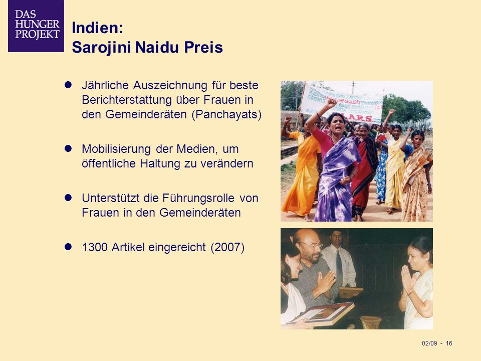 Indien: Sarojini Naidu Preis
