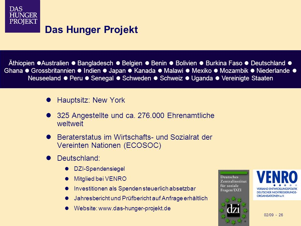 Das Hunger Projekt Hauptsitz: New York