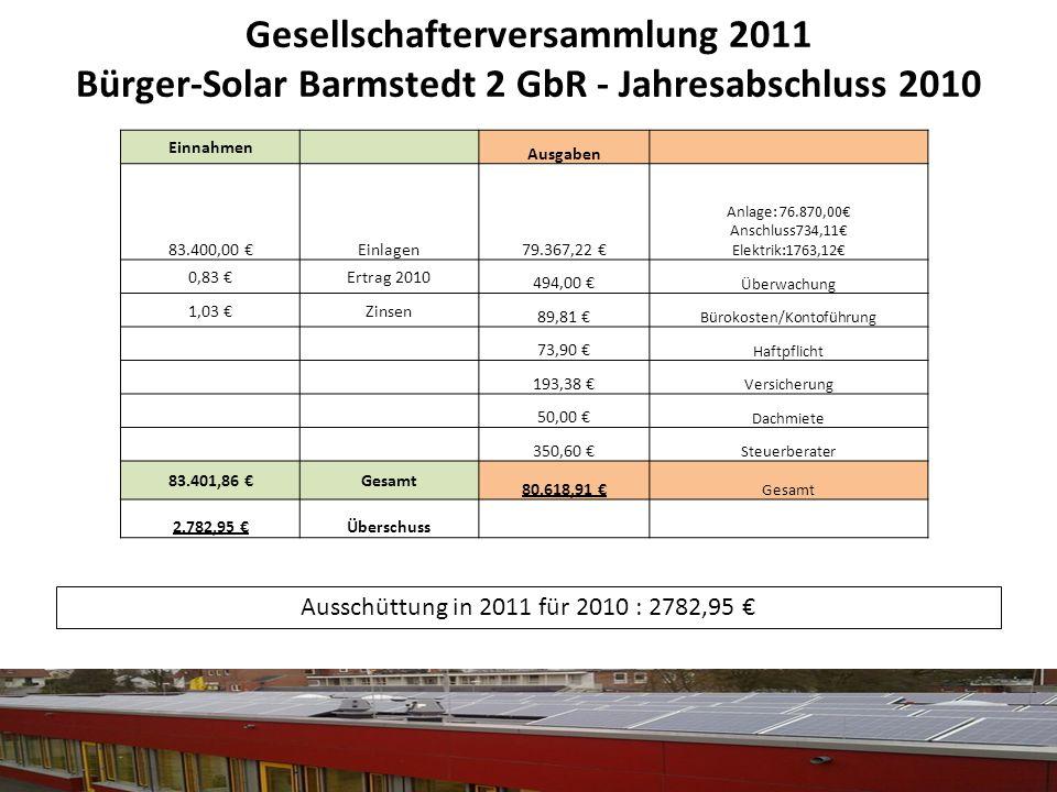 Gesellschafterversammlung 2011 Bürger-Solar Barmstedt 2 GbR - Jahresabschluss 2010