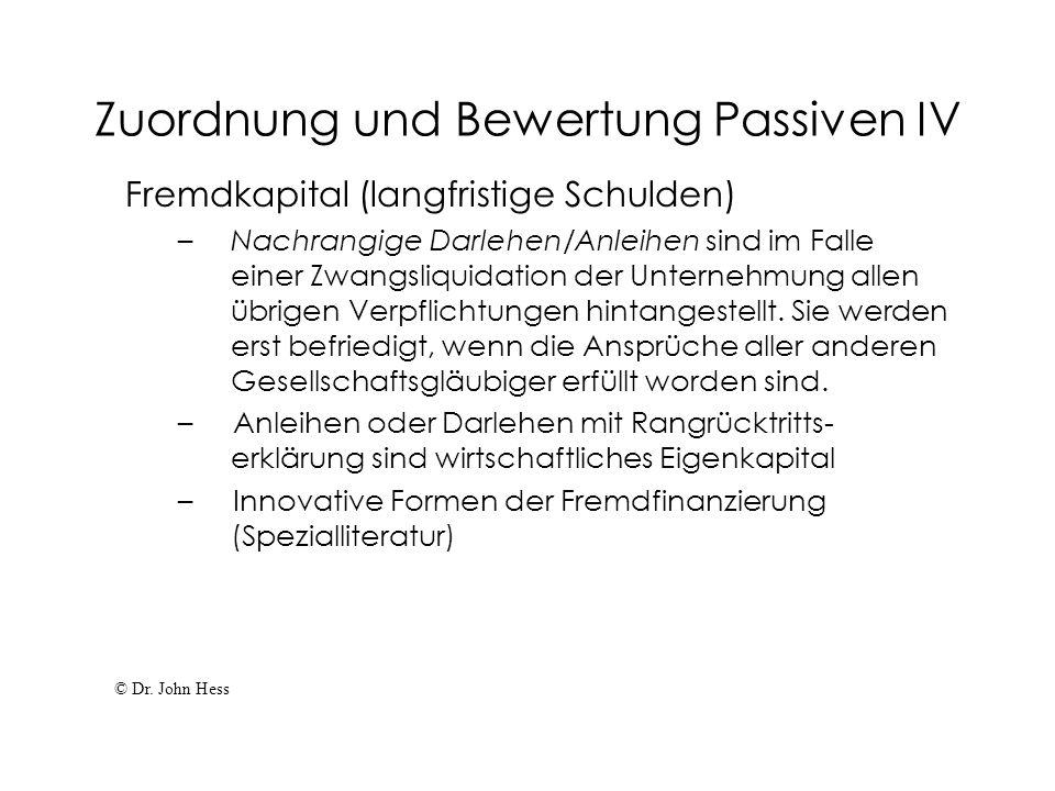 Zuordnung und Bewertung Passiven IV