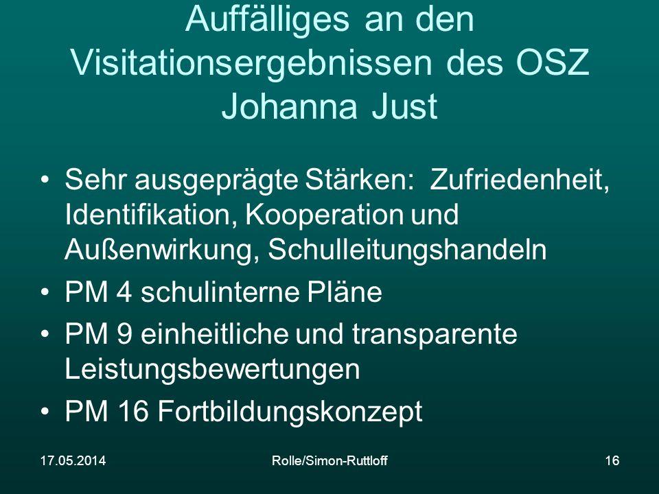 Auffälliges an den Visitationsergebnissen des OSZ Johanna Just