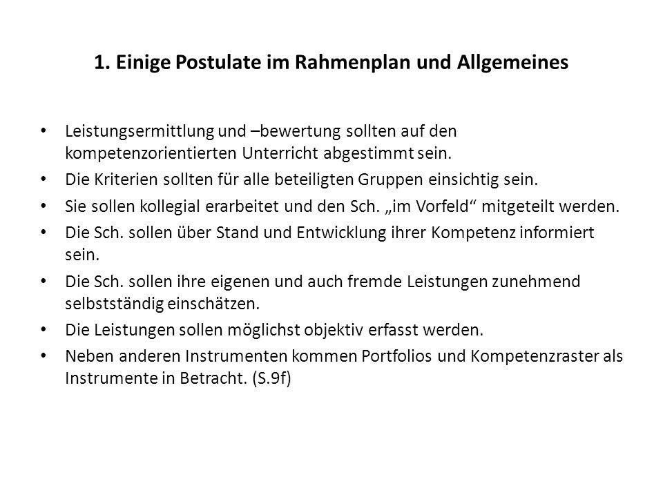 1. Einige Postulate im Rahmenplan und Allgemeines