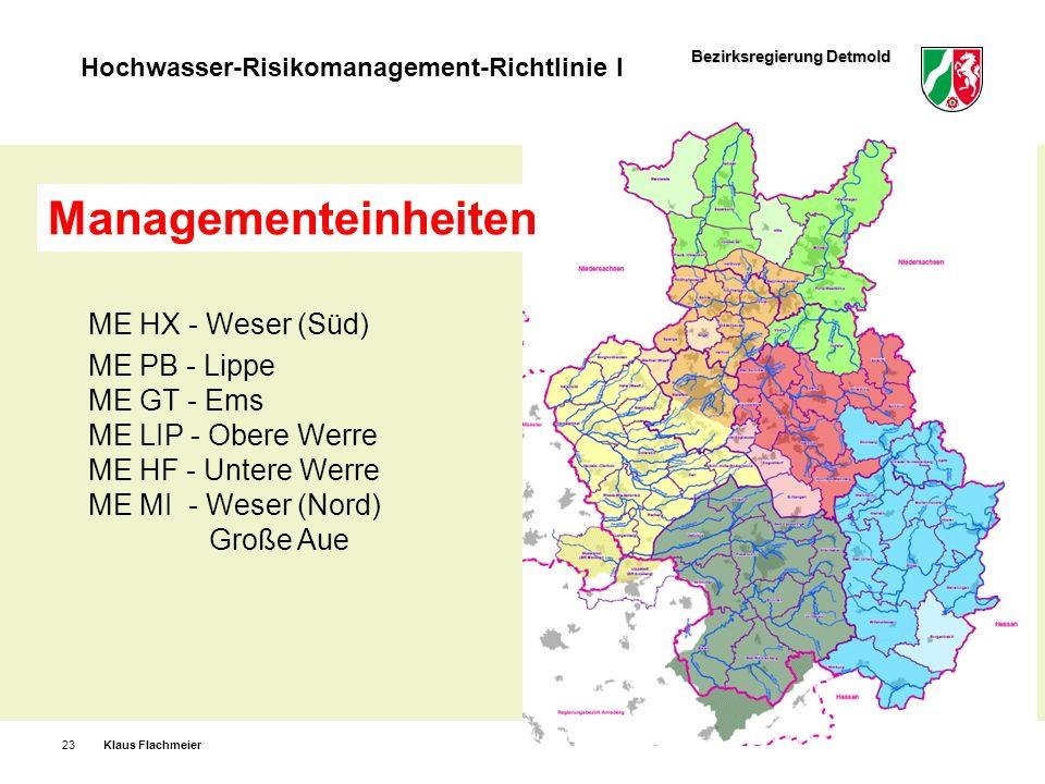 Managementeinheiten ME HX - Weser (Süd) ME PB - Lippe ME GT - Ems