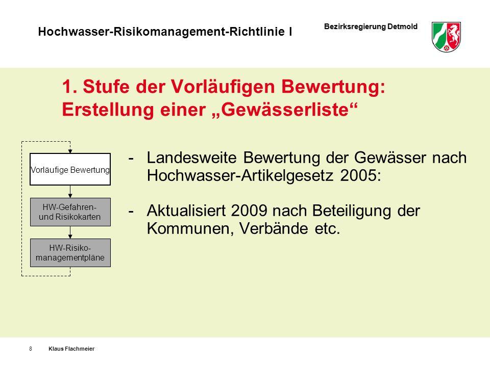"""1. Stufe der Vorläufigen Bewertung: Erstellung einer """"Gewässerliste"""