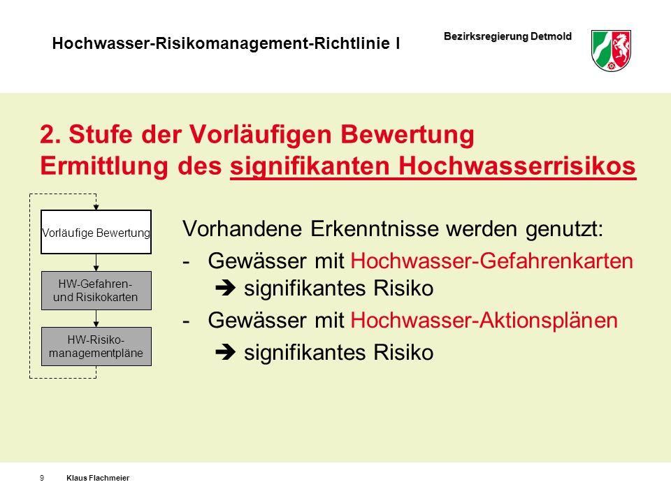 2. Stufe der Vorläufigen Bewertung Ermittlung des signifikanten Hochwasserrisikos