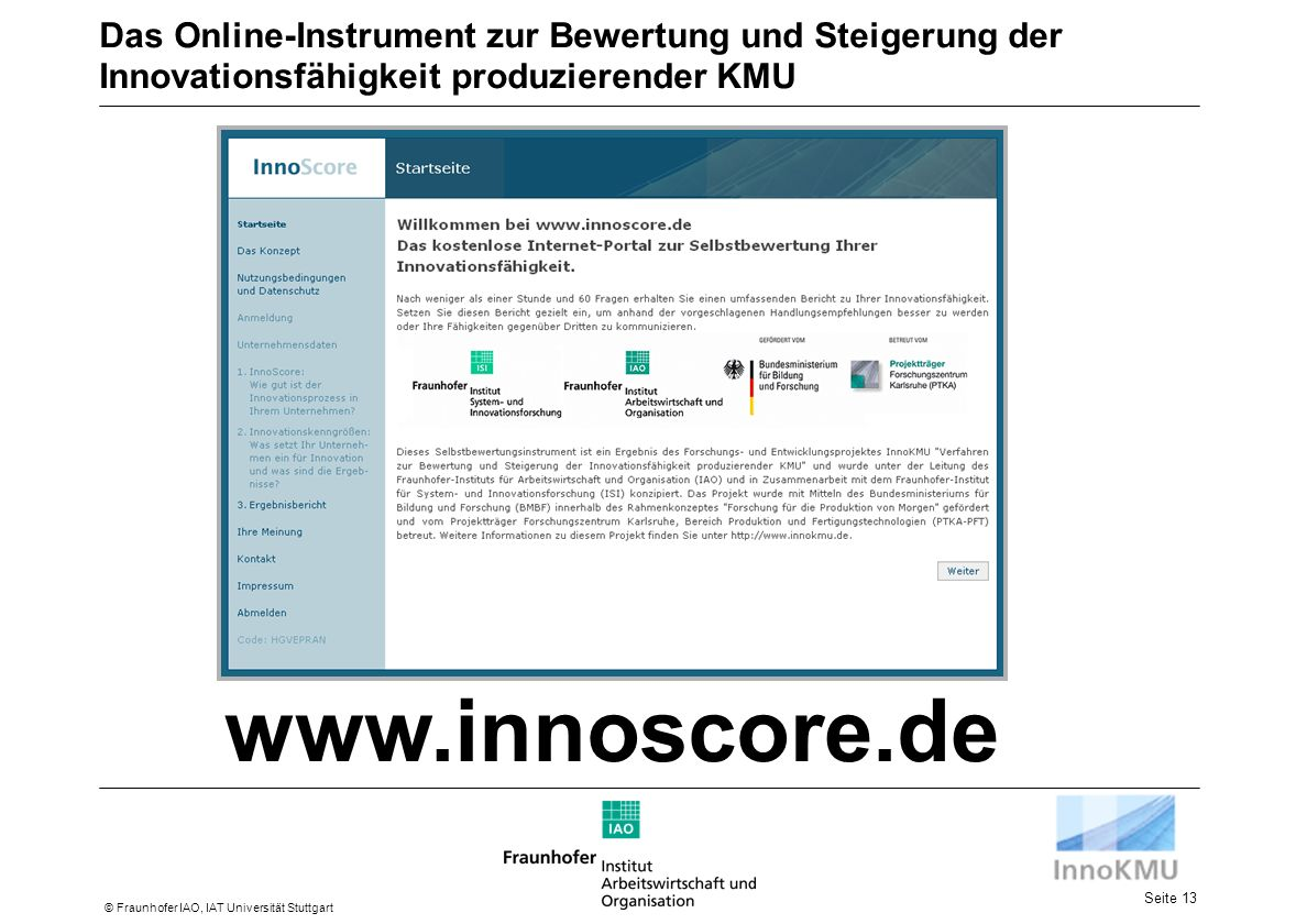 Das Online-Instrument zur Bewertung und Steigerung der Innovationsfähigkeit produzierender KMU
