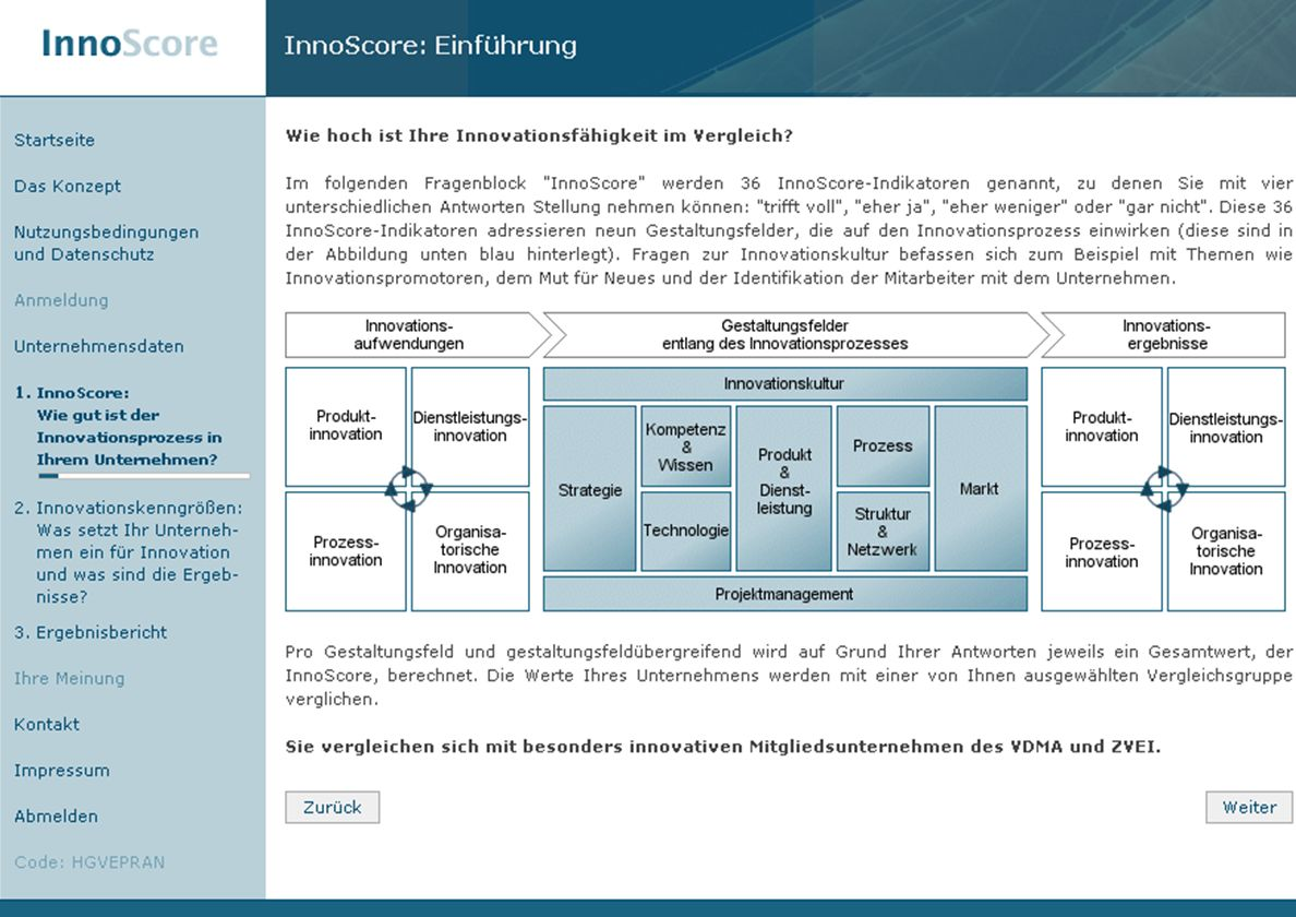 Screenshot Innoscore (Übersicht)