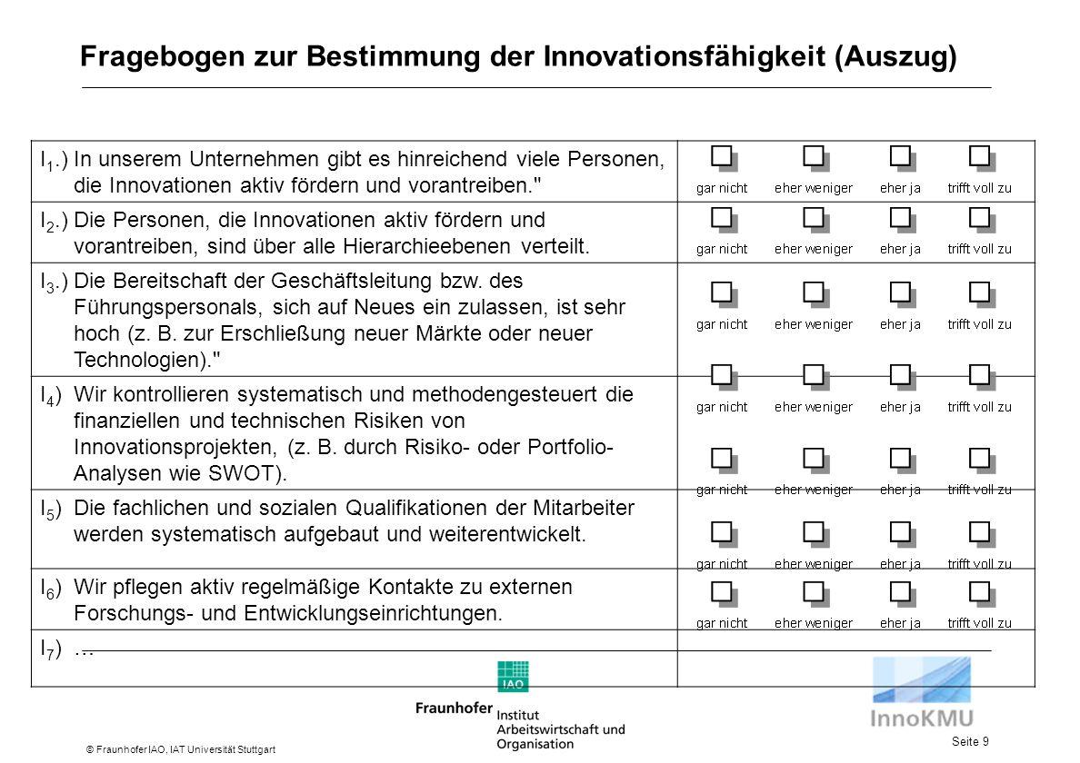 Fragebogen zur Bestimmung der Innovationsfähigkeit (Auszug)