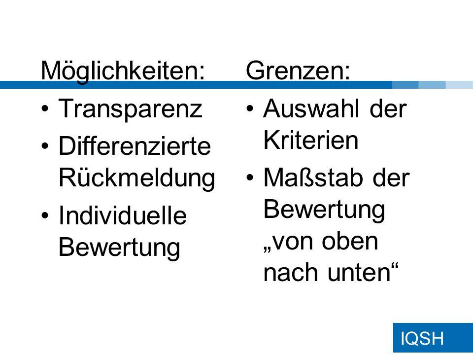 Möglichkeiten: Transparenz. Differenzierte Rückmeldung. Individuelle Bewertung. Grenzen: Auswahl der Kriterien.