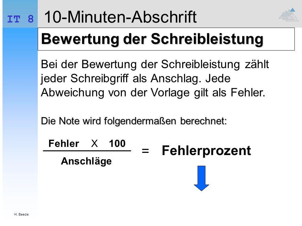 10-Minuten-Abschrift Bewertung der Schreibleistung = Fehlerprozent