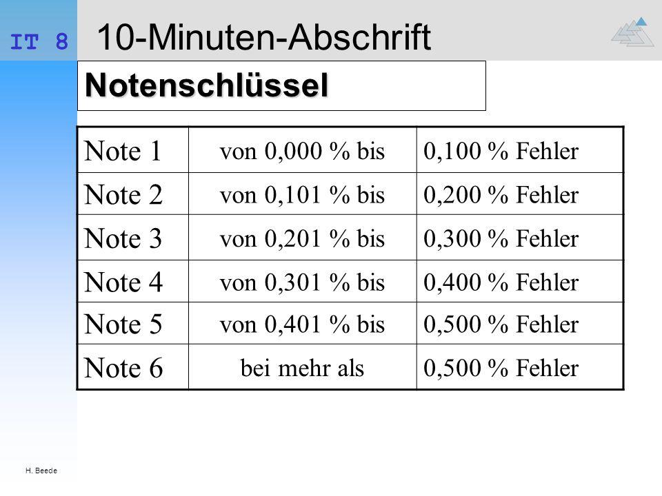 10-Minuten-Abschrift Notenschlüssel Note 1 Note 2 Note 3 Note 4 Note 5