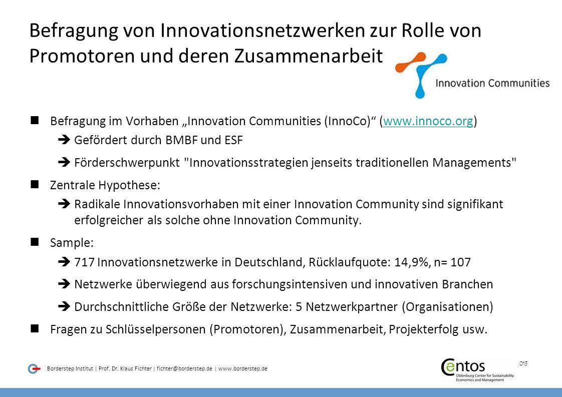 Befragung von Innovationsnetzwerken zur Rolle von Promotoren und deren Zusammenarbeit