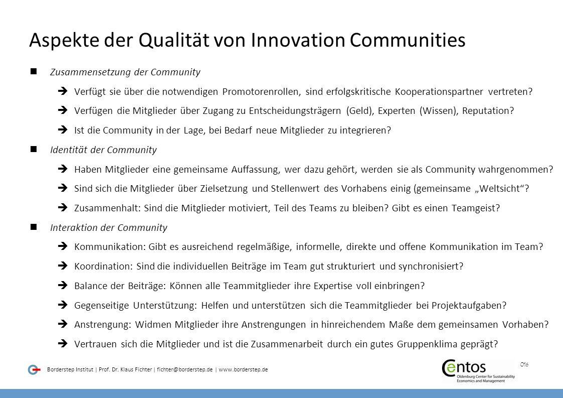 Aspekte der Qualität von Innovation Communities