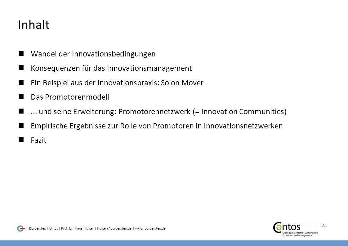 Inhalt Wandel der Innovationsbedingungen
