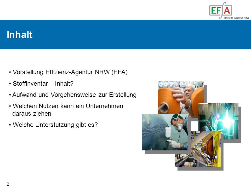 Inhalt Vorstellung Effizienz-Agentur NRW (EFA) Stoffinventar – Inhalt