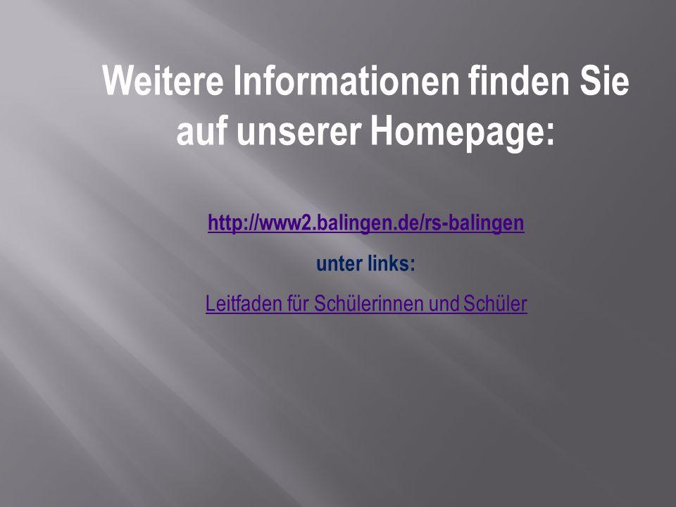 Weitere Informationen finden Sie auf unserer Homepage: