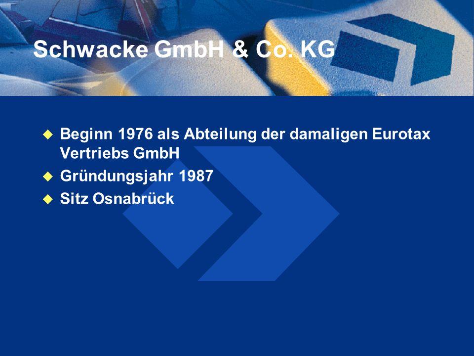 Schwacke GmbH & Co. KG Beginn 1976 als Abteilung der damaligen Eurotax Vertriebs GmbH. Gründungsjahr 1987.