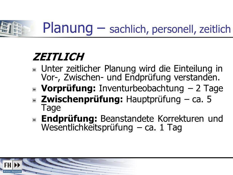 Planung – sachlich, personell, zeitlich