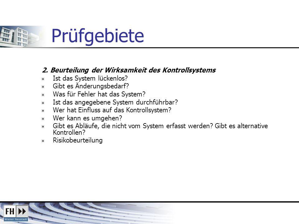 Prüfgebiete 2. Beurteilung der Wirksamkeit des Kontrollsystems