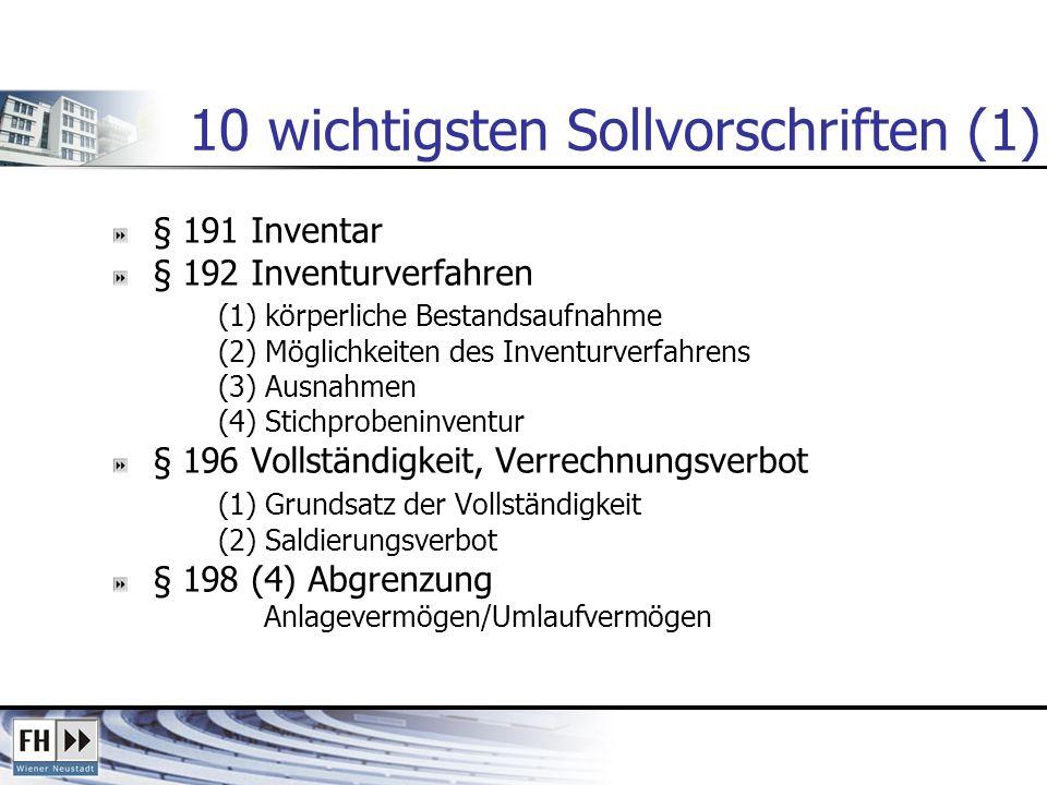 10 wichtigsten Sollvorschriften (1)